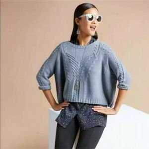 CAbi #3481 Short & Sweet Pullover Sweater Blue L